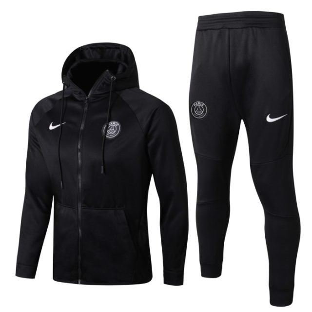 74cf399c8b Conjunto Agasalho Paris Saint-Germain Nike Preto 2018-19 Capuz