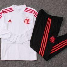 Conjunto do Flamengo Adidas V'Neck Branco 2019 2020